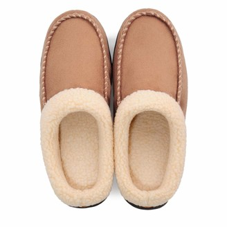 Shoeslocker Mens Slippers Size 9 Memory Foam Moccasin House Slippers Plush Lining Slip on Indoor Outdoor Anti-Skid Rubber Sole Light Brown