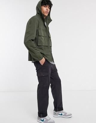 ASOS DESIGN jacket with utility pockets in khaki