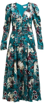 Erdem Annalee Floral-print Crepe Dress - Womens - Green Print