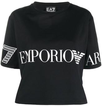 EA7 Emporio Armani logo print cropped T-shirt