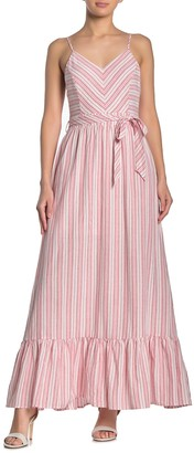 Hyfve Stripe Waist Tie Ruffle Hem Maxi Dress