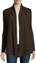 Neiman Marcus Cashmere Basic Open-Front Cardigan, Brown