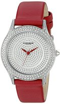 Akribos XXIV Women's AK896RD Round Silver Dial Three Hand Quartz Strap Watch