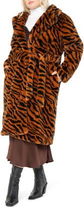 ELOQUII Animal Stripe Faux Fur Coat