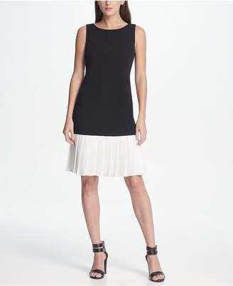 DKNY Pleated Flounce Hem Dress