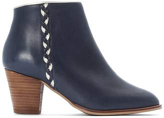 La Redoute Collections Leather Ankle High Heel Boots with Plaited Detail