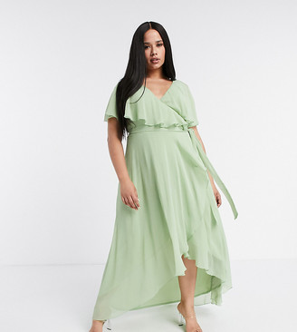 ASOS DESIGN Curve cape back dipped hem maxi dress