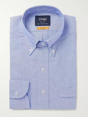 Drakes Blue Button-Down Collar Cotton Oxford Shirt