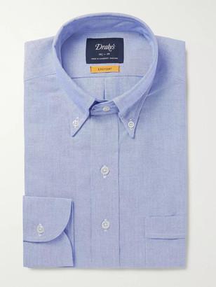Drakes White Button-Down Collar Cotton Oxford Shirt