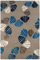 Judy Ross Textiles - Shells 6x9 Hand Knotted Rug Pewter