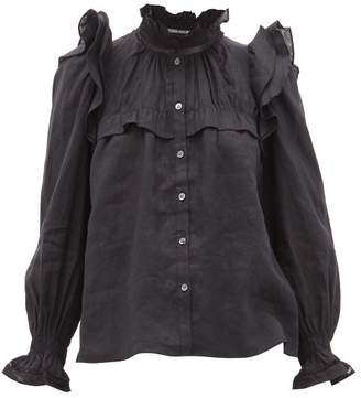 Etoile Isabel Marant Atedy Ruffled Trim Linen Blouse - Womens - Black