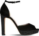 LK Bennett Selina suede and glitter platform heels