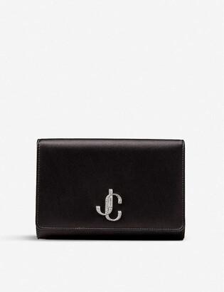 Jimmy Choo Varenne crystal and satin clutch bag