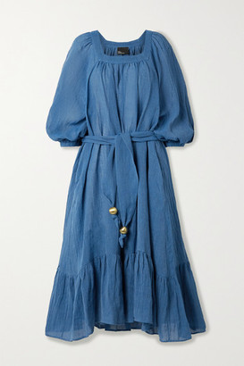 Lisa Marie Fernandez Net Sustain Laure Belted Organic Linen-blend Gauze Midi Dress - Blue