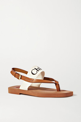 Chloé Logo-print Canvas And Leather Sandals - White