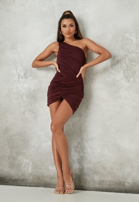 Missguided Wine Slinky Ruched One Shoulder Wrap Mini Dress