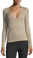 Alexander Wang Deep V Sheer Wooly Rib-Knit Sweater