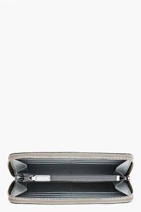 Saint Laurent Metallic Silver Python Leather Zip Wallet