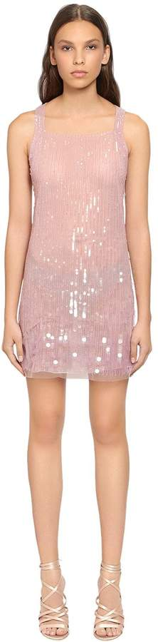 Alberta Ferretti Beaded & Sequined Tulle Dress