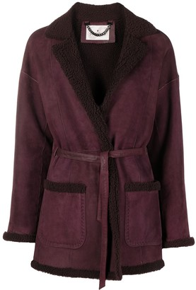 Suprema Tie-Fastening Shearling-Trimmed Coat