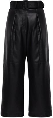 Self-Portrait Faux Leather Crop Pants