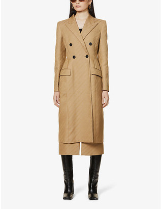 Givenchy Logo-print double-breasted cotton-blend coat