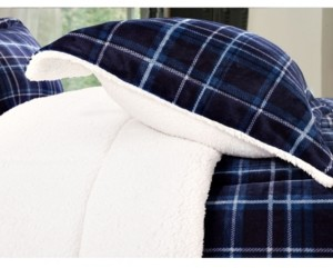 Elegant Comfort Softest, Coziest Heavy Weight Plaid Pattern Micromink Sherpa - Backing Premium Quality Down Alternative Micro - Suede 3-Piece Reversible Comforter Set, Full/Queen Bedding