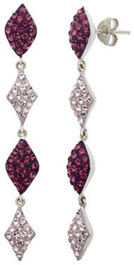 Lord & Taylor Sterling Silver Amethyst Colored Crystal Drop Earrings