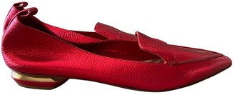 Nicholas Kirkwood Red Leather Flats