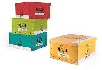 Excelsa 62451 Set Cardboard Storage Boxes, Multicoloured, 4 Units