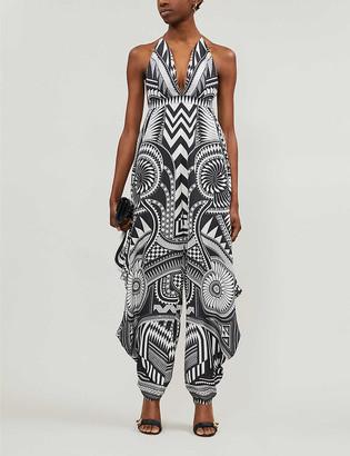 Balmain Graphic-print halter neck silk-satin jumpsuit