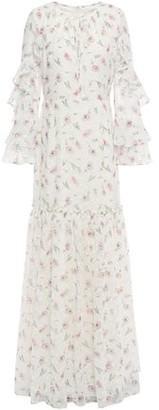 Mikael Aghal Ruffled Floral-print Fil Coupe Chiffon Maxi Dress
