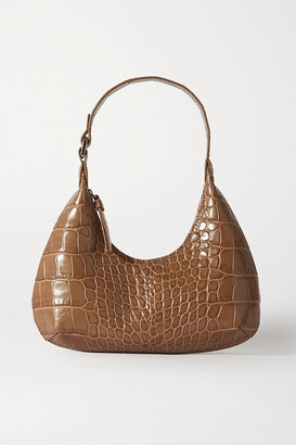 BY FAR Amber Baby Croc-effect Leather Tote - Taupe