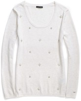 Tommy Hilfiger Scoop Neck Beaded Snowflake Sweater