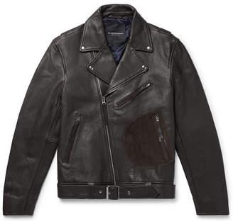 Club Monaco Suede-Trimmed Leather Biker Jacket