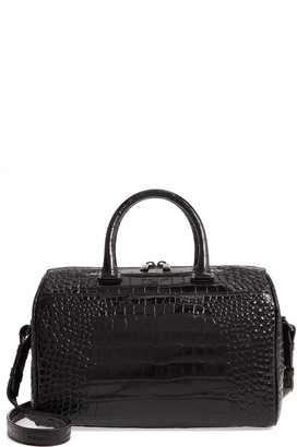 Saint Laurent Croc Embossed Leather Duffle Bag