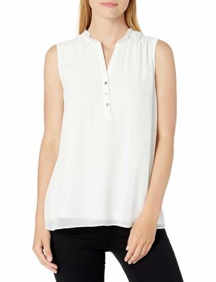 Calvin Klein Women's Sleeveless Ruffle Neck Top with Buttons