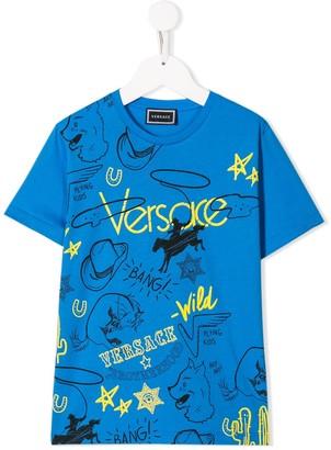 Versace graphic logo print T-shirt