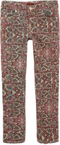 7 For All Mankind The Skinny' fit coral and brown mosaic trousers