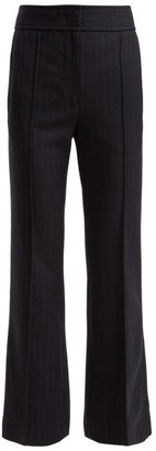 Joseph Ridge Flared Pinstripe Wool Trousers - Womens - Navy