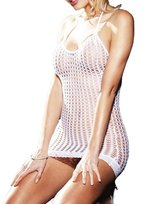 FunnnyRabbbit Womens Mesh Fishnet Chemise Sexy Lingerie Mini Dress Hollow Out Stretch Babydoll