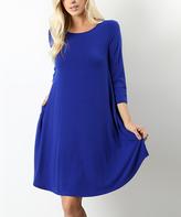 Denim-Blue Three-Quarter Sleeve A-Line Dress - Plus