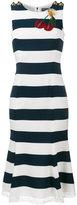 Dolce & Gabbana cherry applique stripe dress - women - Viscose/Cotton/Polyamide/glass - 38