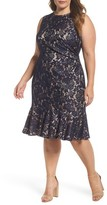Eliza J Plus Size Women's Side Pleat Lace Dress