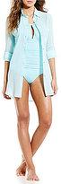 Kenneth Cole New York Collard Shirt Dress Cover-Up