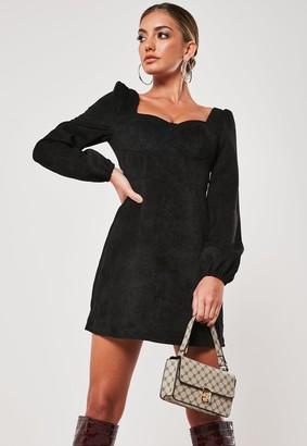 Missguided Black Cord Milkmaid Mini Dress