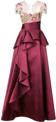 Marchesa Floral-Appliqued Gown