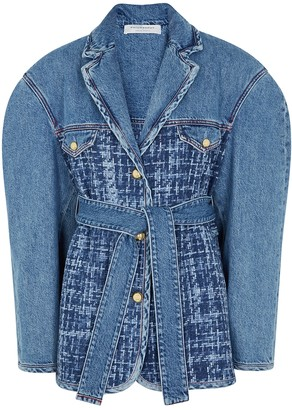 Philosophy di Lorenzo Serafini Blue Tweed-panelled Denim Jacket