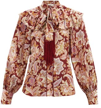 Zimmermann Charm Fringed Paisley-print Silk Blouse - Red Multi