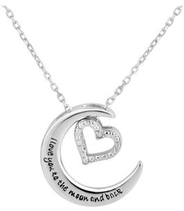 Forever New Sterling Silver Crescent Moon with Diamond Accent Heart Charm Interchangable Necklace 18 Inch